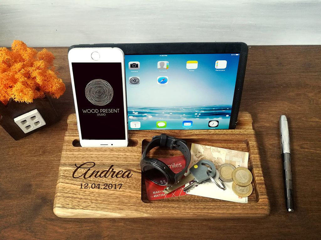 Wood Docking Station, Gifts for Men Birthday, Gift for Dad, Mens Gift Ideas, Birthday Gift for Him, Christmas Gift for Him, Gift for Husband