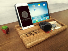 Load image into Gallery viewer, Mens Personalized, Gifts For Him, IPhone Dock, Mens Organizer, IPhone Docking Station, Wooden Docking Station, Gifts For Dad, Tablet Stand
