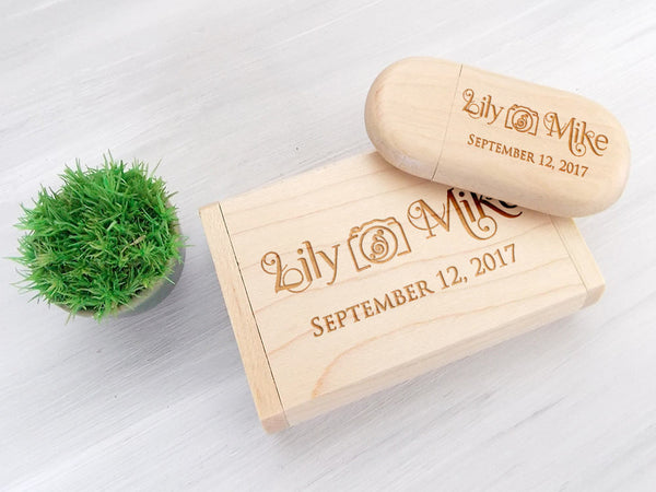Personalized Wooden USB Valentines Day Gift Custom USB Wedding Memories Wedding Gift 5th Anniversary Gift Wedding Favors Photographer USB
