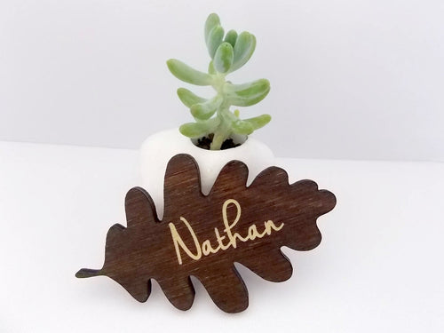 Oak Leaf Place Cards Rustic Wedding Place Cards Laser Cut Name Wood Place Cards Personalised Wooden Names Name Place Cards Escort Card Ideas