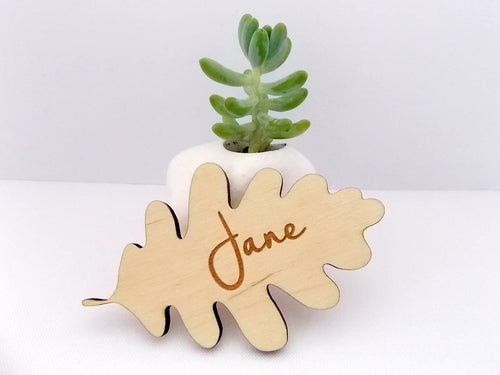 Wedding Place Cards, Laser Cut Names, Oak Leaf Place Cards, Rustic Wood Name, Personalised Wooden Name, Place Cards, Boho, Escort Card Ideas