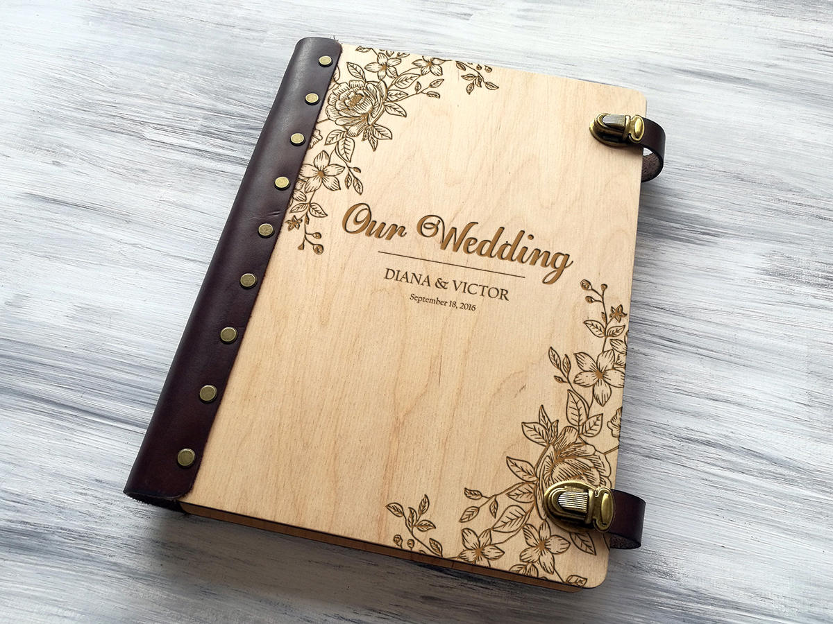 Wedding Photo Album Personalized Photo Album Custom Wedding Gift Wooden Photo Album Wedding Gift Ideas Gift for Couple Rustic Photo Gifts
