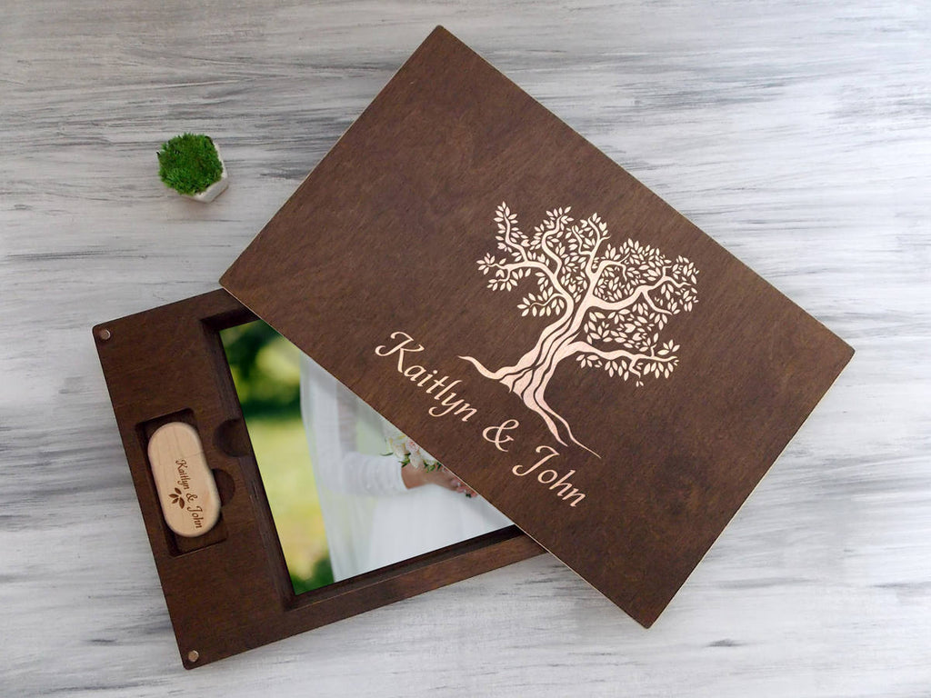 Wedding Gift for Couple, Wooden Photo Box, Anniversary gift, Personalized USB Box, Wood USB Flash Drive, Wedding Tree, 5th Anniversary