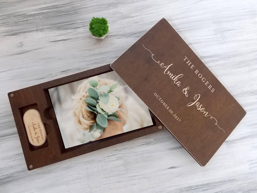 Wedding Gift Ideas Gift for Couple Wedding Photo Box Wood Photo Box Wedding Photography Custom Wedding Box with USB Wood Keepsake Box