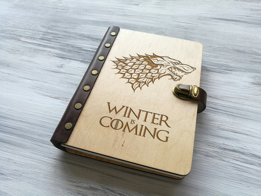 Game of Thrones Gift Leather Notebook Winter is Coming Christmas Gift Wooden Journal Diary Personalised Journal Custom Notebook Gift for Him