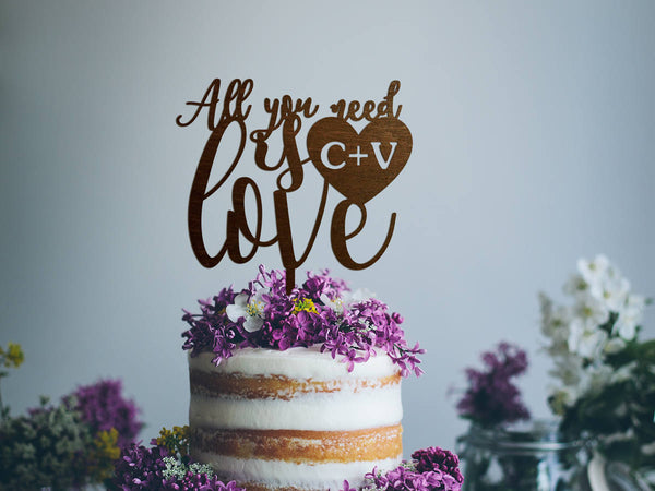 Wedding Cake Topper Monogram Wood Cake Topper All You Need Is Love Cake Topper Rustic Gold Wedding Cake Topper Anniversary Valentines Day