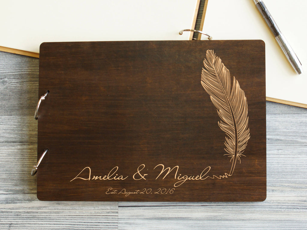 Wedding Guest Book Feather Wooden Wedding Guest Book Personalized Wedding Gift Ideas Wedding Guestbook Custom Guest Book Bridal Shower Gift