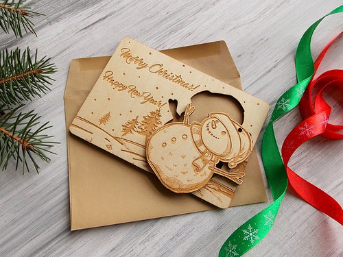 Personalized Christmas Gift Laser Cut Ornament, Holidays Greeting Card with Snowman Ornament, Christmas Gift for Him Snowman Holiday Decor
