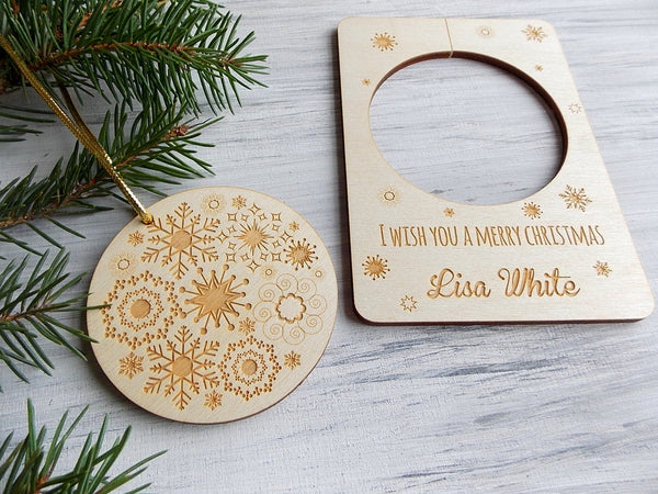 Personalized Christmas Gift Card with Christmas Tree Ornament Wood Christmas Holiday Decor Coworker Christmas Gift Wooden Laser Cut Ornament