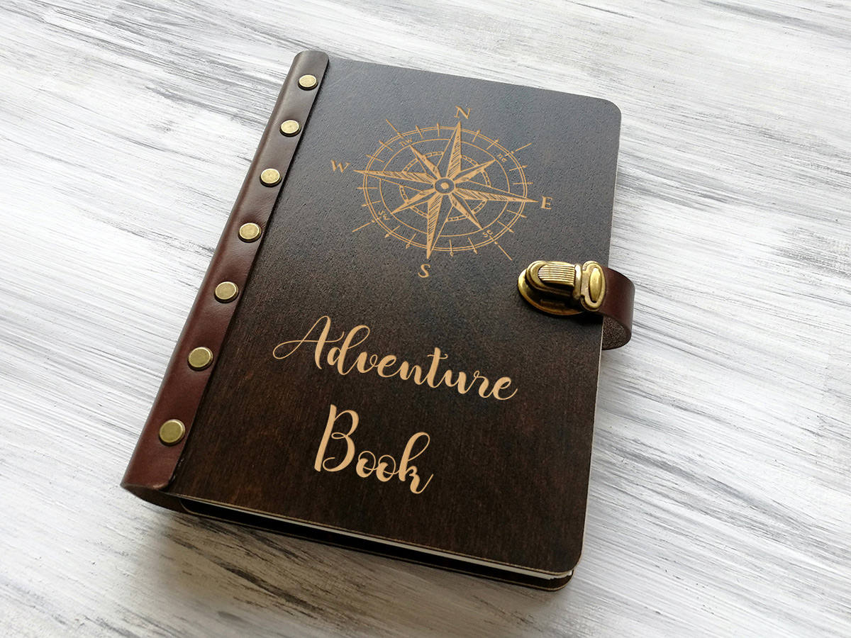 Adventure Book Compass Rose Personalised Travel Notebook Wooden Journal Nautical Compass Custom Notebook Leather Travel Gift Outdoor Gift
