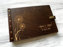 Load image into Gallery viewer, Wedding Guest Book Dandelion Rustic Wedding Guestbook Personalized Guest Book Wedding Guestbook Wood Guestbook Leather Guest Book Custom