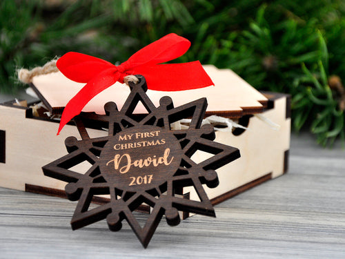 Personalized Baby First Christmas Ornament Babys 1st Christmas 2017 Ornament Wooden Ornament Gift Baby Ornament Custom Snowflakes Engraved