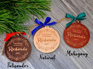 Our First Family Christmas Ornament Christmas gift Personalized Ornaments Christmas Tree Ornaments First Christmas Ornament Married Mr Mrs
