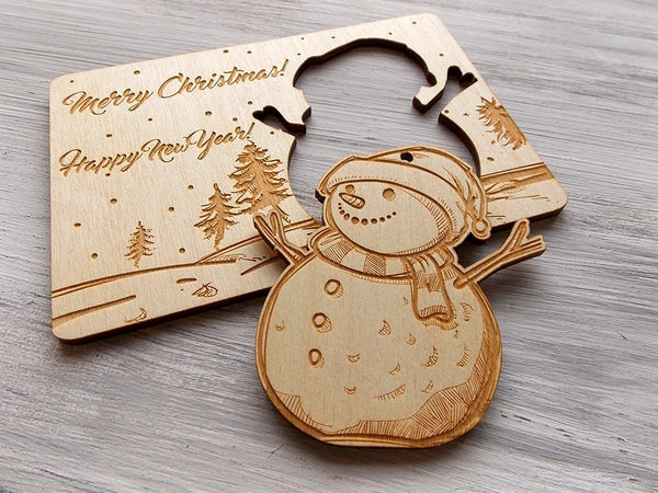 Christmas Tree Ornament Christmas Gift Personalized Christmas Card Laser Cut Ornaments Holiday Decor Snowman Ornament in Wood Christmas Card