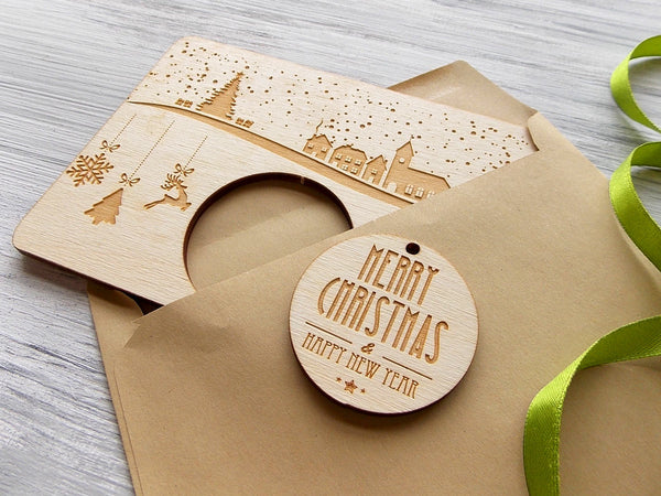 Christmas Gift Card with Wooden Christmas Tree Decoration Laser Cut Ornaments Gift for Friend Christmas Holiday Decor Merry Christmas Card