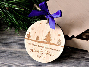 First Christmas Ornament Married Personalized Christmas Ornament First Christmas Married Tree Ornament Gift for Couples Christmas Gifts