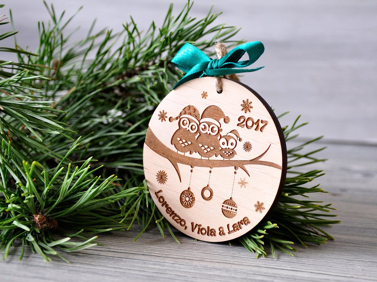 Our First Christmas as a Family of Three Personalized  Christmas Ornament of Three Owls 1st Christmas as Mommy & Daddy New Parents Gift Box