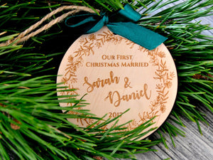 Our First Christmas Married Ornament Couple Christmas Ornament Personalized Christmas Ornaments Rustic Wedding Gift Newlywed Just Married