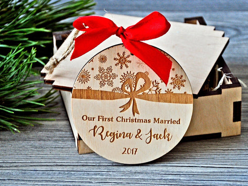 Our first Christmas Married Ornament Personalized Christmas Ornament Customized Ornament Engagement Gift for Couple Christmas Gifts Newlywed