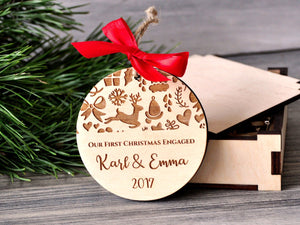 Engagement Gifts for Couple Our First Christmas Engaged Ornament Customized Ornament Christmas Gifts Personalized Wood Ornament Mr. and Mrs.