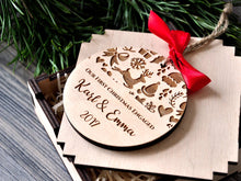 Load image into Gallery viewer, Engagement Gifts for Couple Our First Christmas Engaged Ornament Customized Ornament Christmas Gifts Personalized Wood Ornament Mr. and Mrs.