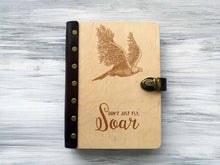 Load image into Gallery viewer, Wooden Notebook Eagle,  Valentines Gift for Boyfriend, Premium Gift, Custom Sketchbook, Leather Journal A5, Personalized Refillable Notebook