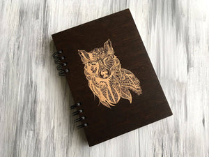 A5 Wood Journal Notebook Wooden Cover Notepad Personalized Journal Christmas Gift for Him Wolf Engraved Notebook Custom Notebook Sketchbook