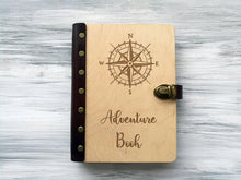 Load image into Gallery viewer, Adventure Book Compass Rose Personalised Travel Notebook Wooden Journal Nautical Compass Custom Notebook Leather Travel Gift Outdoor Gift