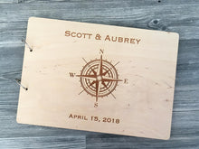 Load image into Gallery viewer, Wedding Guest Book Compass Custom Guestbook Nautical Wedding Decor Summer Wedding Guestbook Wooden Guest Book Wedding Album Memory Book