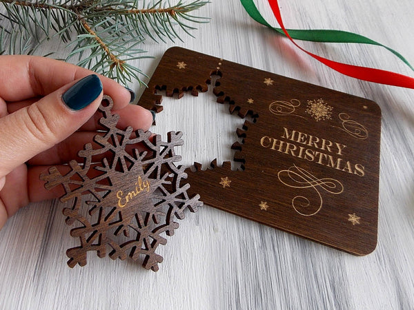 Personalized Christmas Tree Ornament Laser Cut Snowflake Merry Christmas Card Wood Christmas Decoration Christmas Gift Holiday Decor