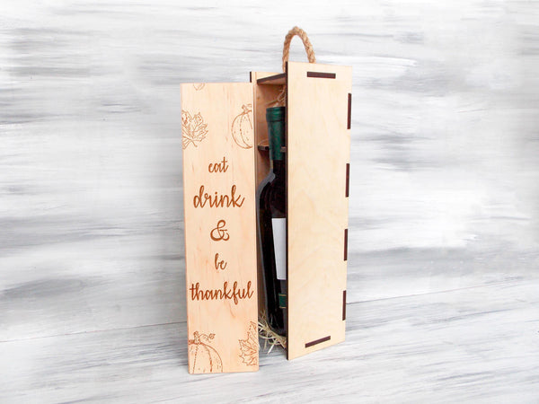 Wooden Wine Box, Personalized Wine Box, Thanksgiving Gift, Wine Gift Box, Custom Wine Box, Gift for Couple, Thanksgiving Wine Gift Box