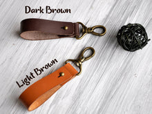 Load image into Gallery viewer, Custom Leather Keychain, Monogrammed Keychain Leather, Personalized Key Fob, Engraved Keychain for Boyfriend, Leather Keyring, Gift for Dad