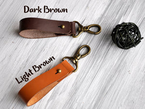 Custom Leather Keychain, Monogrammed Keychain Leather, Personalized Key Fob, Engraved Keychain for Boyfriend, Leather Keyring, Gift for Dad