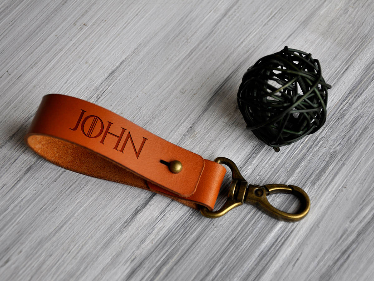 Leather Keychain Personalized, Game of Thrones Gift, Fathers Day Gift, Gift for Men, Personalized Leather Key fob Engraved, Custom Key Ring