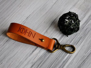 Custom Leather Keychain Monogrammed Birthday Gift for Him Fathers Day Gift Boyfriend Birthday Gifts Mens Gift Idea Leather Key Fob Dad Gifts