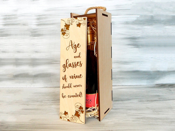 Valentines Day Gift, Wine Gift Box, Wine Gift for Her, Wooden Wine Box, Wedding Gift, Wine Lover Gift, Girlfriend Gift, Housewarming Gift