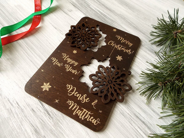 Personalized Christmas Card with Snowflake Ornaments, Coworker Gift Christmas Tree Holiday Decor, Wood Laser Cut Snowflake Gift for Friend