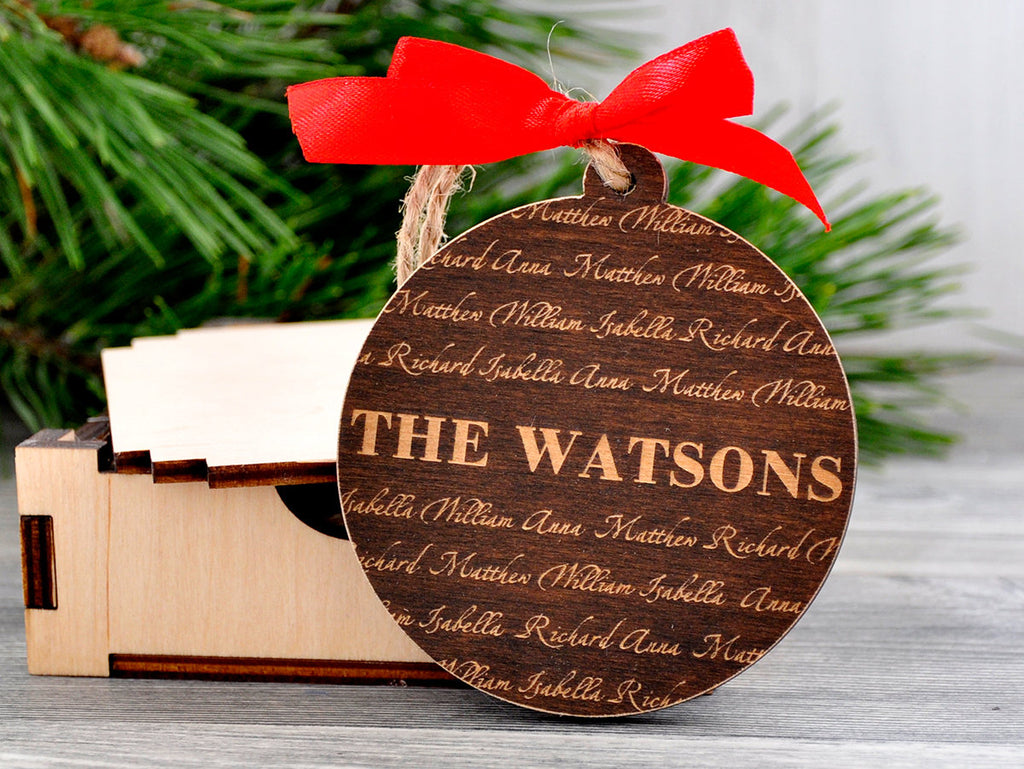 Christmas Ornament Personalized Family Name Ornament Christmas Decor Custom Ornament Personalized Family Ornaments Wooden Laser Engraved