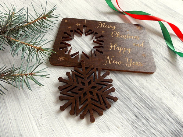 Wood Snowflake Ornament Holiday Decor Personalized Laser Cut Snowflake Coworker Gift Christmas Tree Decor Rustic Christmas Gift for Friend