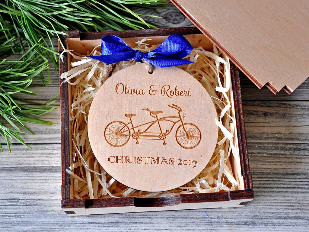 Christmas Ornaments Personalized Custom Engraved Christmas Ornament Tandem Bicycle Holiday Decor Tree Decoration Christmas Gifts for Couples