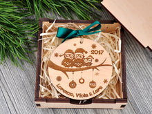 Load image into Gallery viewer, Our First Christmas as a Family of Three Personalized  Christmas Ornament of Three Owls 1st Christmas as Mommy & Daddy New Parents Gift Box