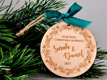 Load image into Gallery viewer, Our First Christmas Married Ornament Couple Christmas Ornament Personalized Christmas Ornaments Rustic Wedding Gift Newlywed Just Married