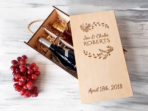 2 Bottles Wine Box 5th Anniversary Gift for Couple Wooden Wedding Wine Box Valentine Day Gift Wine Lover Gift Personalized Wine Box Dad Gift