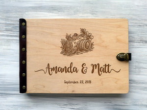 Personalized Travel Photo Album Wedding Photo Album Wood Travel Gift Ideas Wedding Album Custom Wedding Gift for Couple Engraved Photo Album