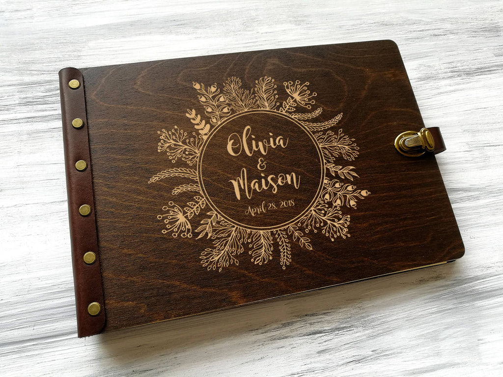 Wedding Guest Book Ideas Rustic Wedding GuestBook Wreath Custom Engraved Guest book Wood Guestbook Personalized Guest Book for Wedding Gift