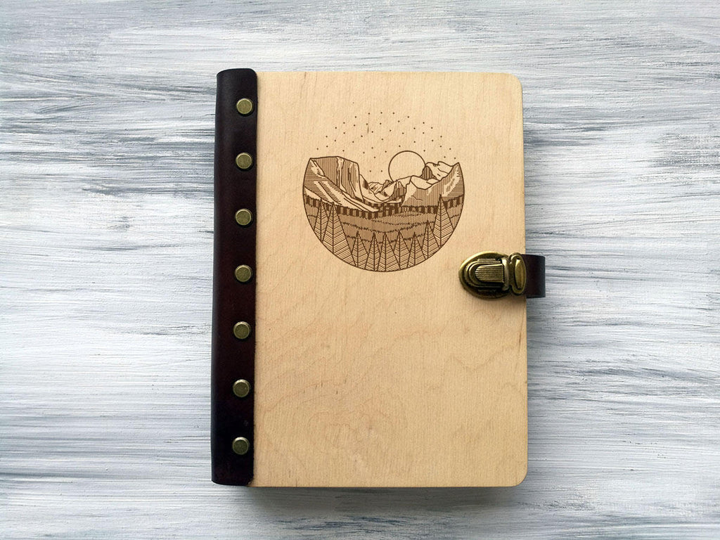 Wooden Notebook, Mountains, Personalised Sketchbook, Custom Notebook, Adventure Book, Christmas Gift for Her, Travel Gift, Travel Journal