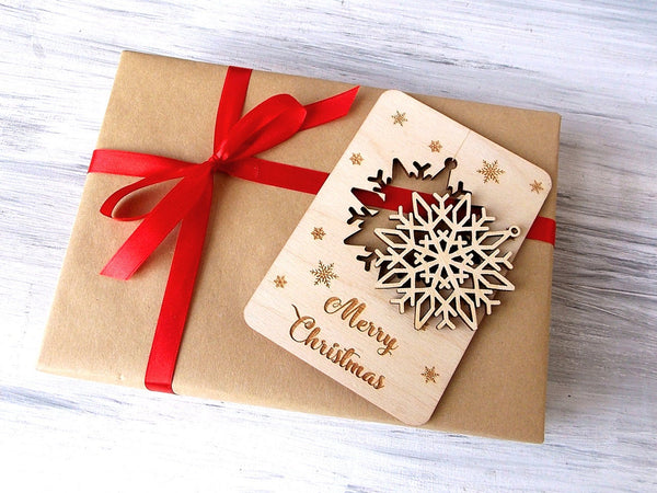 Wood Snowflake in Personalized Christmas Card, Christmas Tree Decoration Laser Cut Snowflake, Holiday Gift Christmas Ornament, Holiday Decor