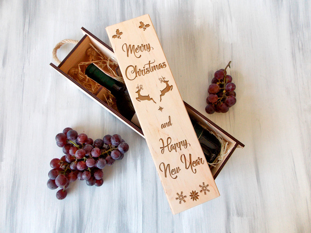 Christmas Wine Box Personalized Wooden Wine Box Christmas Gift for Her Wine Gift Box Holiday Gifts Wine Lover Gift Custom Wine Box Wood
