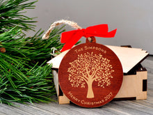 Load image into Gallery viewer, Personalized Christmas Ornaments Wood Christmas Decorations Wood Christmas Ornament Personalized Family Ornament Engagement Gifts for Couple