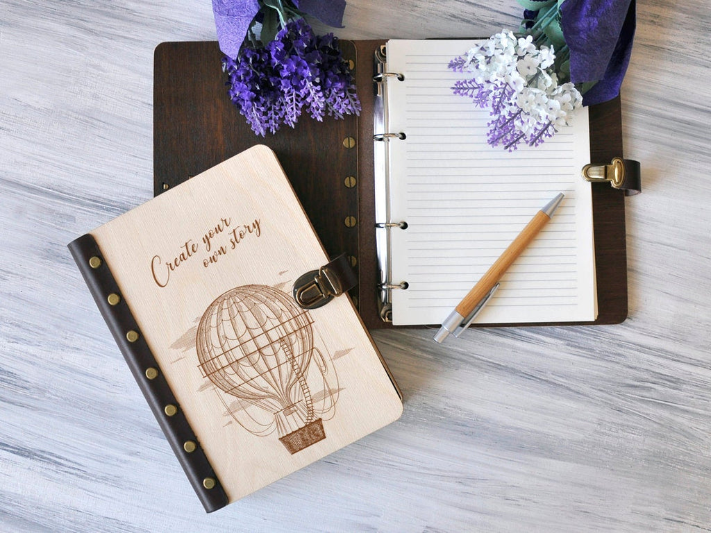 Wooden Notebook Hot Air Balloon Journal for Her Handmade Notebook for Writers Gifts for Boss Travel Journal Blank Sketchbook Present for Her
